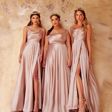 Elegant Pink Backless Slit Leg Wedding Bridesmaid Dress Lace Up Satin Slip Square Neck Long Women Royal Blue Gown Summer 2021