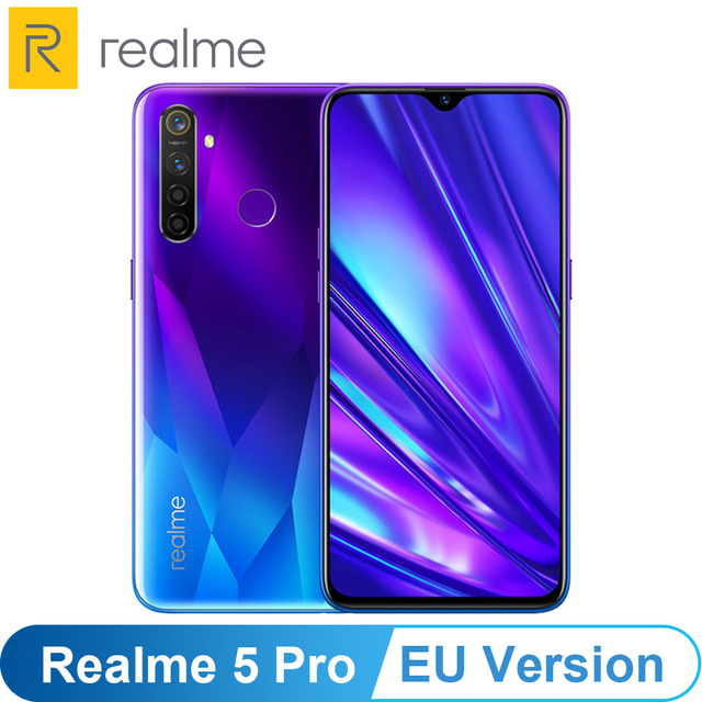 Eu バージョン oppo realme 5 プロ (RMX1971) 6.3 4/8 ギガバイト 128 ギガバイトの android 1080p オクタ · コア 4035 mah 48MP クワッドカメラ vooc 高速充電 3.0