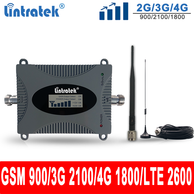 Lintratek 2G/3G/4G Signal Repeate Car Antenna 900 1800 UMTS 2100 Cellular Car Booster GSM DCS WCDMA LTE 2600Mhz Car Amplifier