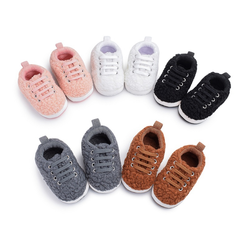 Winter Plush Fleece Baby Shoes Soft Bottom Toddler Shoes Baby Cotton Non-slipped Shoes