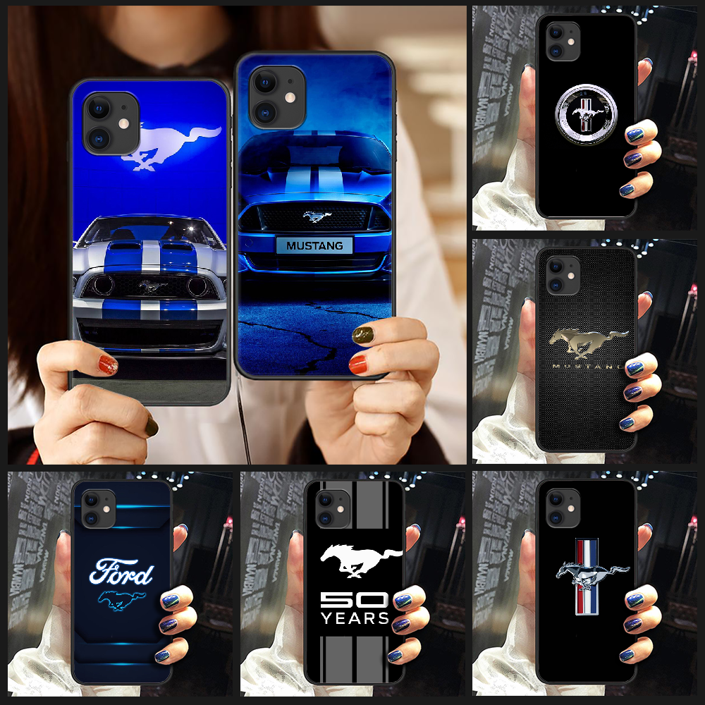 Ford mustang car luxury Phone Cover scafo per iphone 5 5s se 2 6 6s 7 8 plus X XS XR 11 PRO MAX nero hoesjes soft coque
