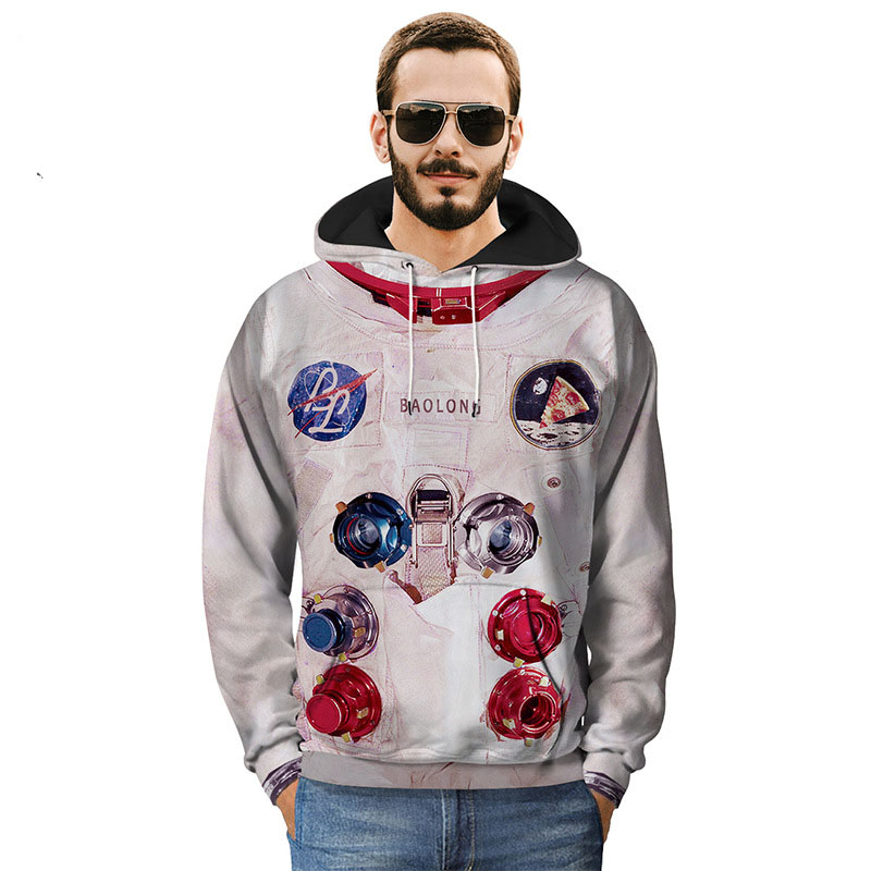 Autumn Men Winter Creative Fashion Print Loose Casual Cotton 3D Hoodies Sweatshirt Astronaut Men Hip Hop Pullover Coat M-3XL