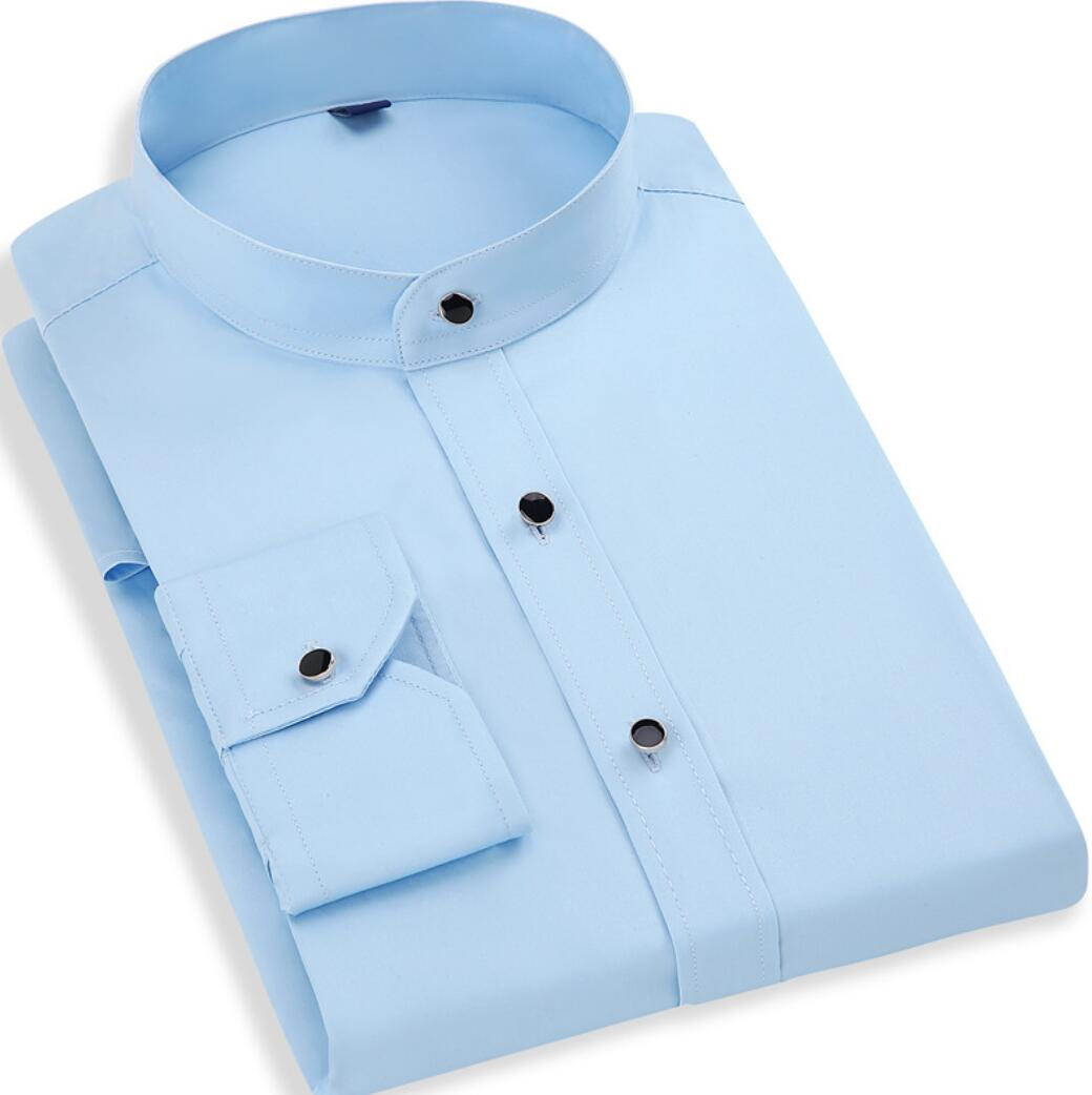 2019 Spring New Collar Shirt Maa1 Men's Cotton Long-sleeved Business Round Neck Men's White Shirt Slim Cotton Xkj113-01-27