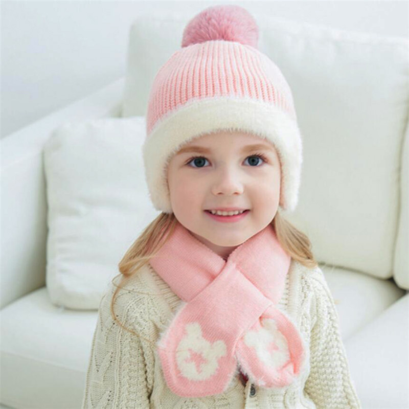 Kids Winter Hat And Scarf Baby Warm Ribbed Kint Hat Set Child 2019 Girls Boys Cotton Lnner Layer Ear Protection Cap Scarves 1-6T