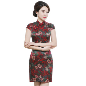 Image 5 - משי cheongsam לעמוד צווארון קצר שרוול קצר סגנון רטרו slim תות משי יומי מפעל ישיר מכירות גבוהה כיתה