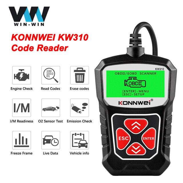 KONNWEI Herramienta de escaneo de diagnóstico de coche KW310 OBD2, lector de código automotriz con ruso OBD 2, herramientas automáticas PK ELM 327 V 1 5 AS100