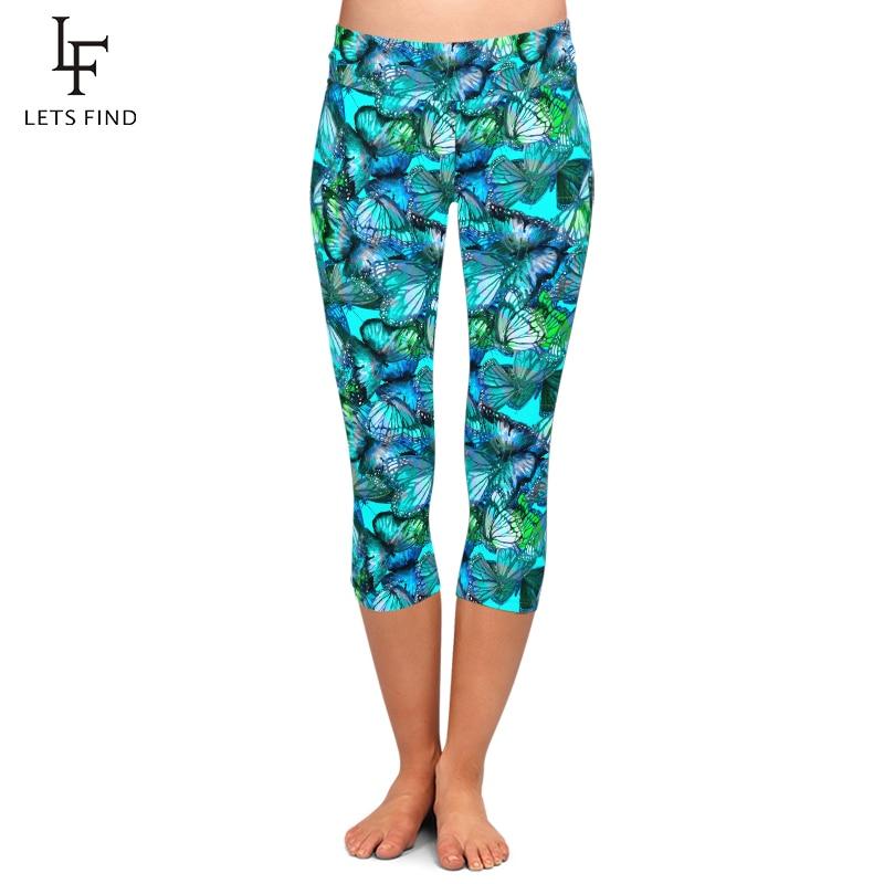 LETSFIND 2020 New High Quaility Women Capri Leggings Blue Butterflies Print High Waist Plus Size Fitness Soft Mid-Calf Leggings