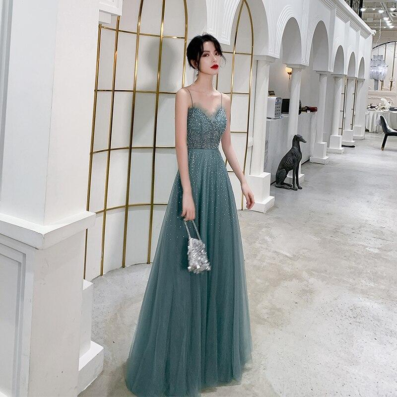 Robe de Banquet femme 2019 nouveau Style Noble Sexy robes de bal sangle Spaghetti dos nu perles robes formelles Haute Couture