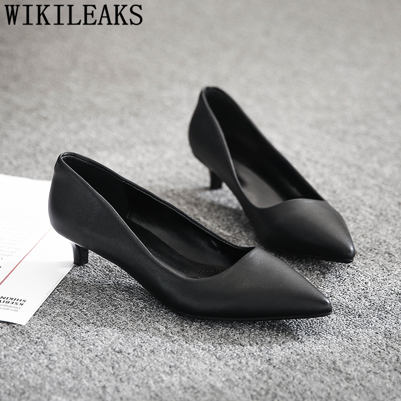 Kitten Heels Black Pumps Women Shoes