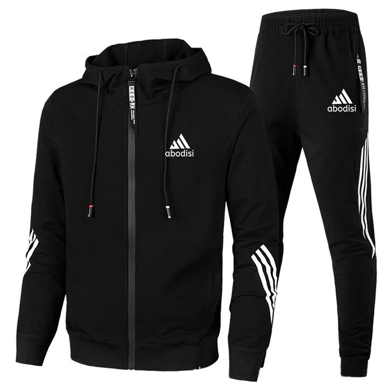 Casual Sweatshirts Set Men's 2 Piece Tracksuit Men Casual Suit Striped Sportswear Men Hooded Top Outdoor Sport Pants Track Suit