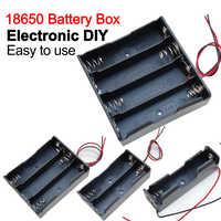 Caja de almacenamiento para batería, contenedor de baterías con cable de plomo, 1X 2X 3X 4X 18650, 1, 2, 3 y 4 ranuras, novedad de 18650