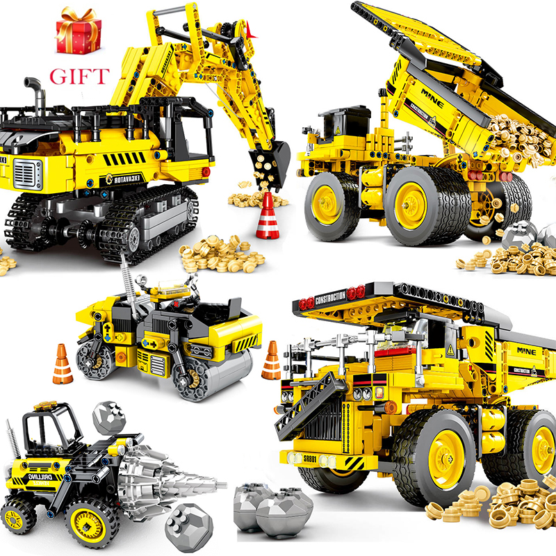 City Engineer Bulldozer Crane Compatible LegoLINGs Building Block Technic Truck Construction Vehicle Car Toys For Children Gifts
