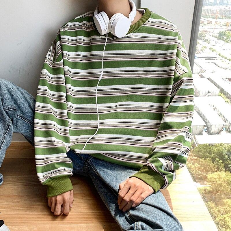 Winter Plus Velvet Hoodies Men Warm Fashion Contrast Color Casual O-neck Striped Pullover Hoody Hip Hop Loose Sweatshirt