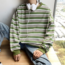 Winter Plus Velvet Hoodies Men Warm Fashion Contrast Color Casual O-neck Striped Pullover Men Hoody Hip Hop Loose Sweatshirt