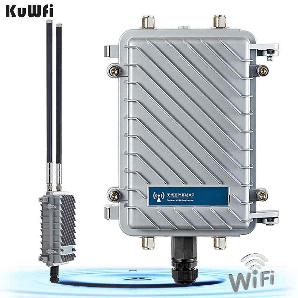 KuWfi 300Mbps Router 500mW Wireless Bridge และ Repeater เครื่องขยายสัญญาณสัญญาณ WiFi Long-Range Access Point CPE router 2 * 18dBi