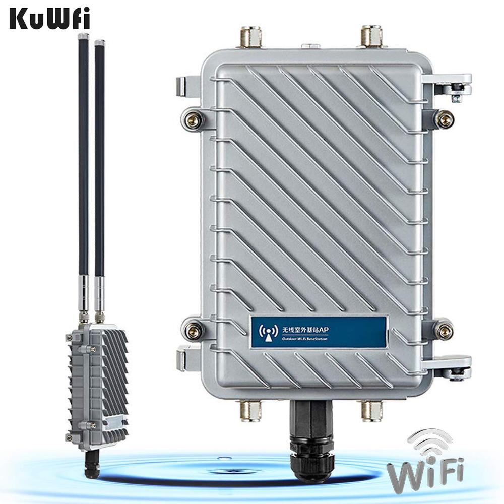 KuWfi 300Mbps Router 500mW Wireless Bridge และ Repeater เครื่องขยายสัญญาณสัญญาณ WiFi Long-Range Access Point CPE router 2 * 18dBi title=