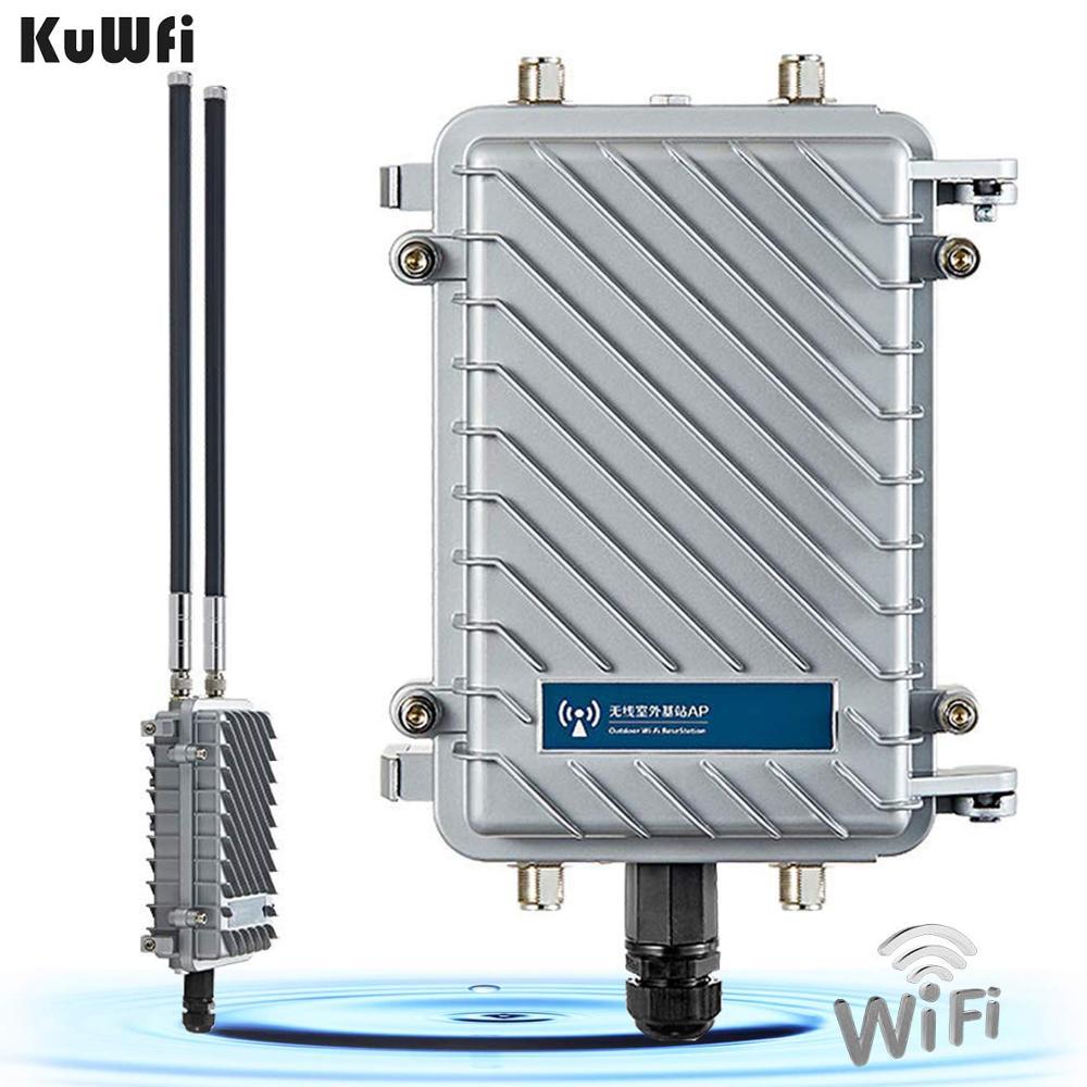 KuWfi 300 Mbps Roteador Sem Fio Wifi Repetidor 500 MW Amplificador De Sinal WiFi Ponto De Acesso De Longo Alcance Roteador CPE Com 2 * 18dBi Antena