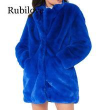 Rubilove Winter Women Long Faux Fur Coat Loose Tops Thick Plush Outerwear Turn Down Collar Female Hairy Furry Warm Overcoat Plus