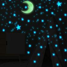 111 sztuk gwiazda i księżyc połączenie 3D naklejka ścienna salon dekoracja sypialni dla dzieci pokój domu świecące w ciemności naklejki