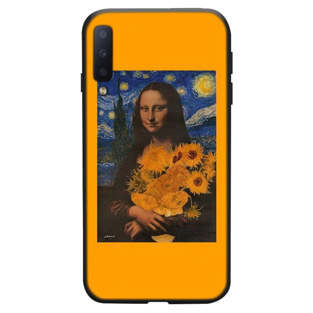 אסתטי ואן גוך המונה ליזה דוד שחור טלפון מקרה עבור סמסונג A20 A30 30s A40 A7 2018 J2 J7 ראש J4 בתוספת S5 הערה 9 10 בתוספת