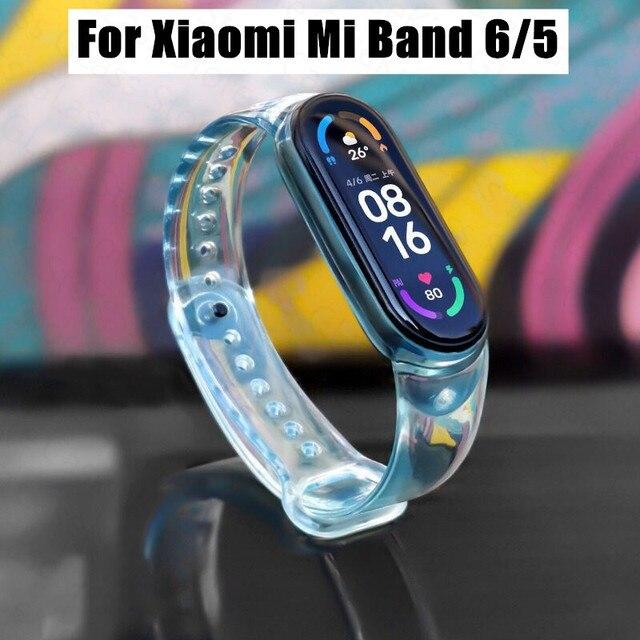 Nova pulseira para xiaomi mi banda 6 5 descoloração transparente silicone substituição pulseira para xiaomi miband 6 miband5 cinta