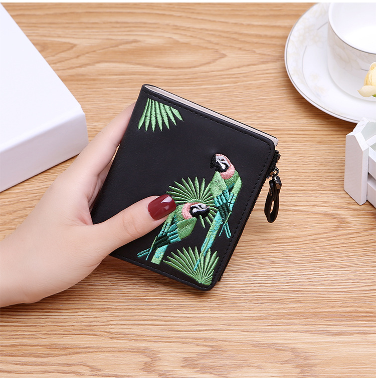 H1e320b598b534648b7a04325b04ed599D - Women's Coin Wallet | Bird Embroidered
