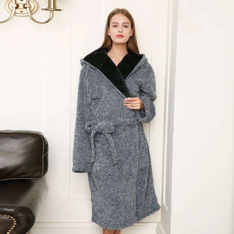 2020 Thicken Nightgowns Winter Bathrobe Women Pajamas Bath Flannel Warm Robe Sleepwear Womens Robes Coral Velvet