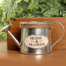 Vintage Metal artesanía regadera arreglo de flores decoración del hogar plantas carnosas flores maceta cubo