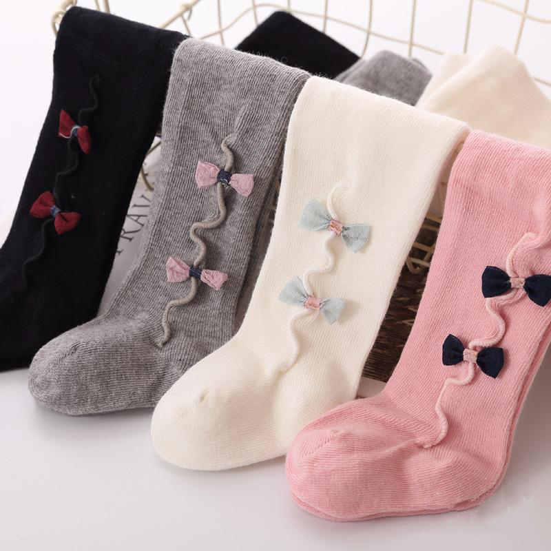 Cute Baby Girls Bowknot Cotton Warm Tights Stockings Autumn Winter White Black Grey Pink Kids Girl Stockings 0-3Y