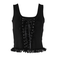 Bandage Zipper Vest Women Short Camisole Square Neck Knitting Lace Girls Sexy Slim Fashion Tank Tops 1