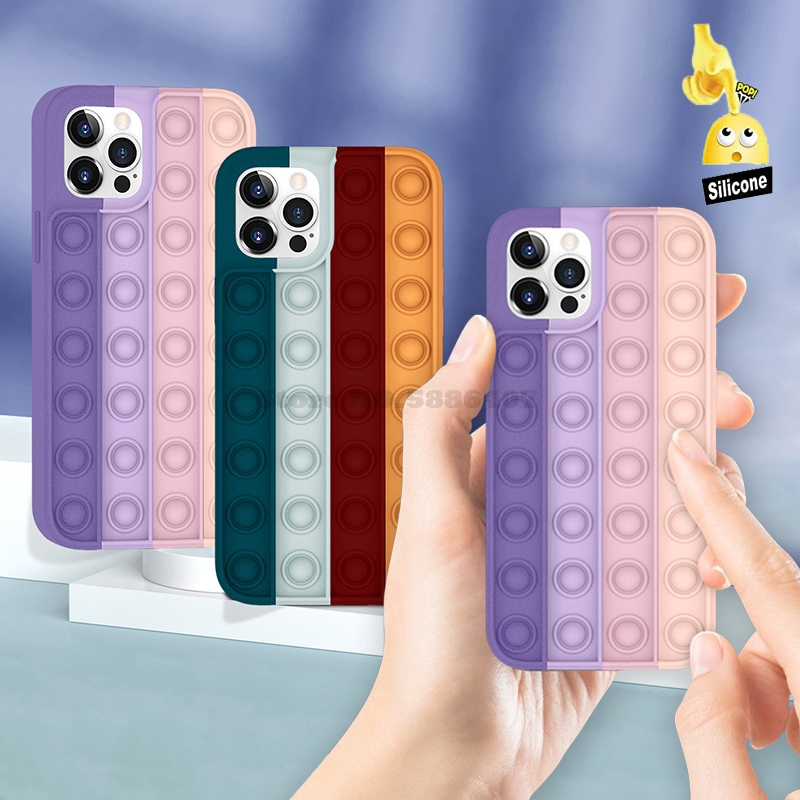 Relief Stress Pop Fidget Toys Silicone Case For Iphone 12 11 Pro Max Mini 7 8 Plus X XR XS Phone Rainbow Color Protective Cover