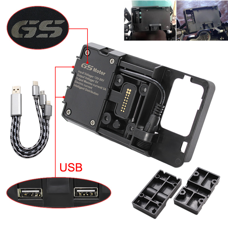 Mobile Phone USB Navigation Bracket Motorcycle USB Charging Mount For BMW R1200GS F800GS ADV R1200RS R1250GS CRF 1000L F850GS