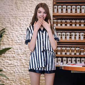 QWEEK Silk Pajamas Sleepwear Women Nightwear-Set Homewear Short-Sleeve Satin Striped