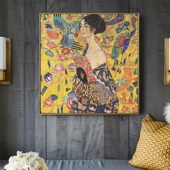 Gustav Klimt Canvas Painting Adele Bloch Golden Posters and Prints Wall Art Picture Cuadros Home Decoration Living Room Decor image