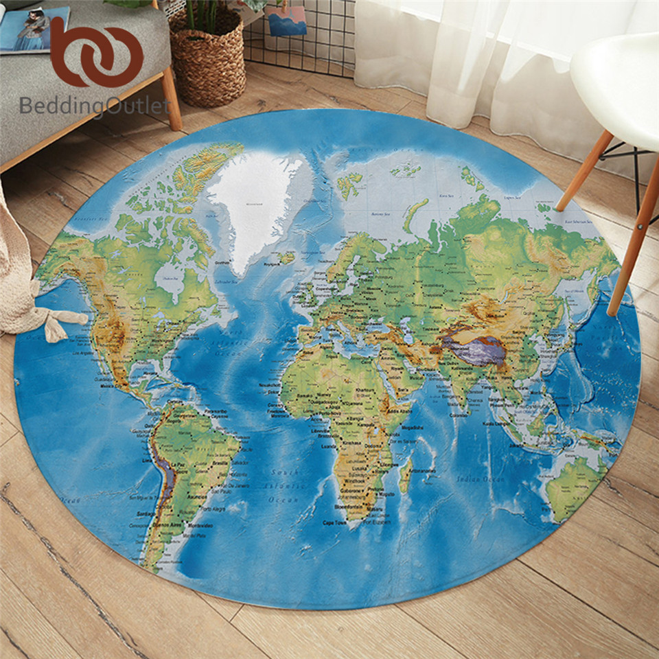 Beddingoutlet World Map Round Carpets For Living Room Vivid
