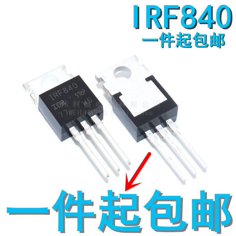10 pçs/lote novo irf840 n canal efeito de campo transistor mos tubo 500v/8a/0.85 ou para-220