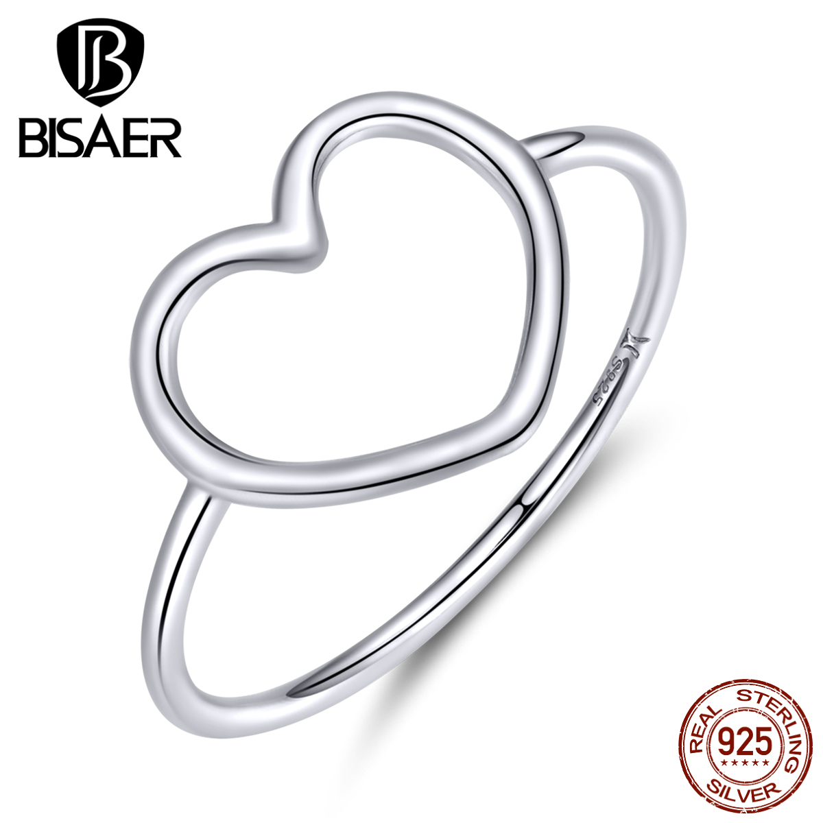 Heart Rings BISAER 925 Sterling Silver A Million Heart Pave Finger Rings For Women Simple Wedding Engagement Jewelry Anel ECR641