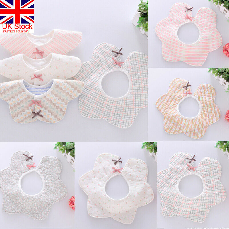 2X Flower Shape 360° Baby Soft Feeding Scarves Soft Cotton Bib Saliva Towel