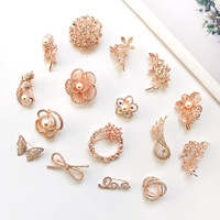 SCB040 Love Simple Korean Brooch Pearl Bow knot Water Drill Popular Explosive Net Shop Camellia Brooch Pin