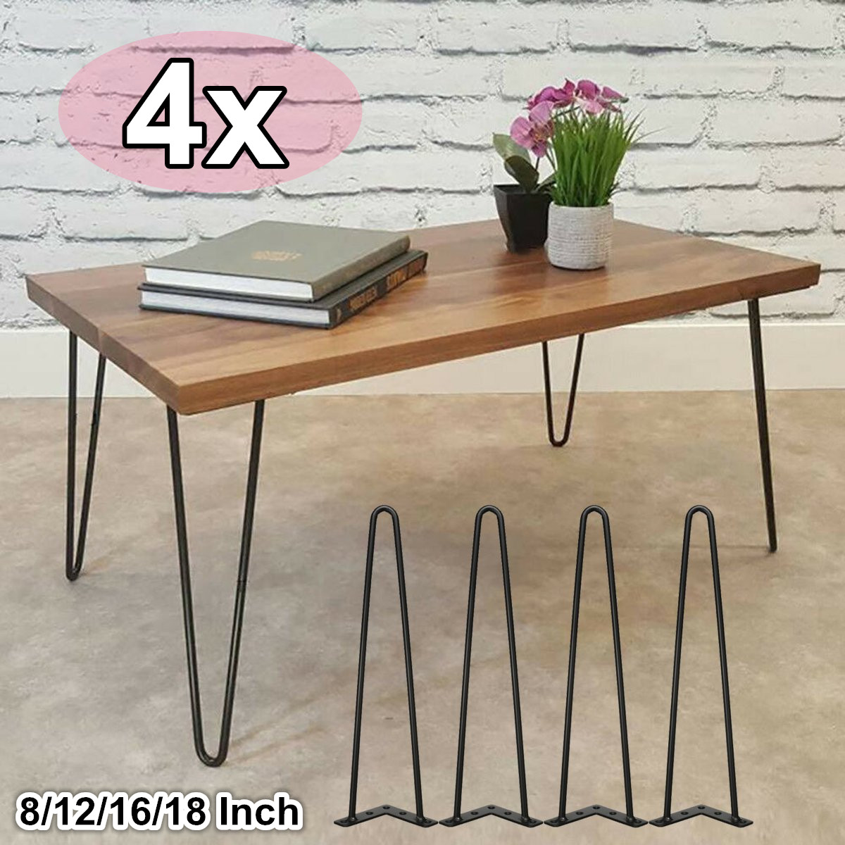 4Pcs U-shaped Metal Hairpin Table Desk Leg Bracket Solid Iron Furniture Support Leg Sofa Cabinet Chairs DIY Hardware 8-18 Inch