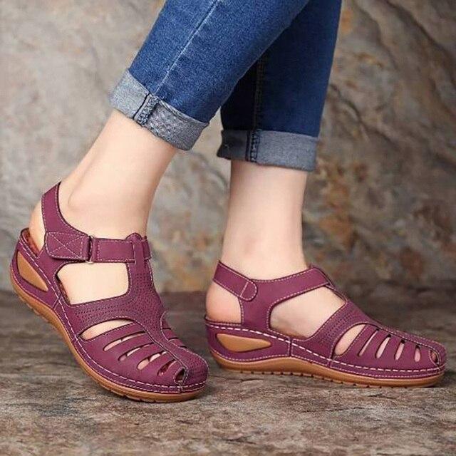 Sandalias Vintage de cuero de verano 2020 para mujer, zapatos de plataforma Retro para mujer, de costura informal, de velcro, para mujer, Tallas grandes 2
