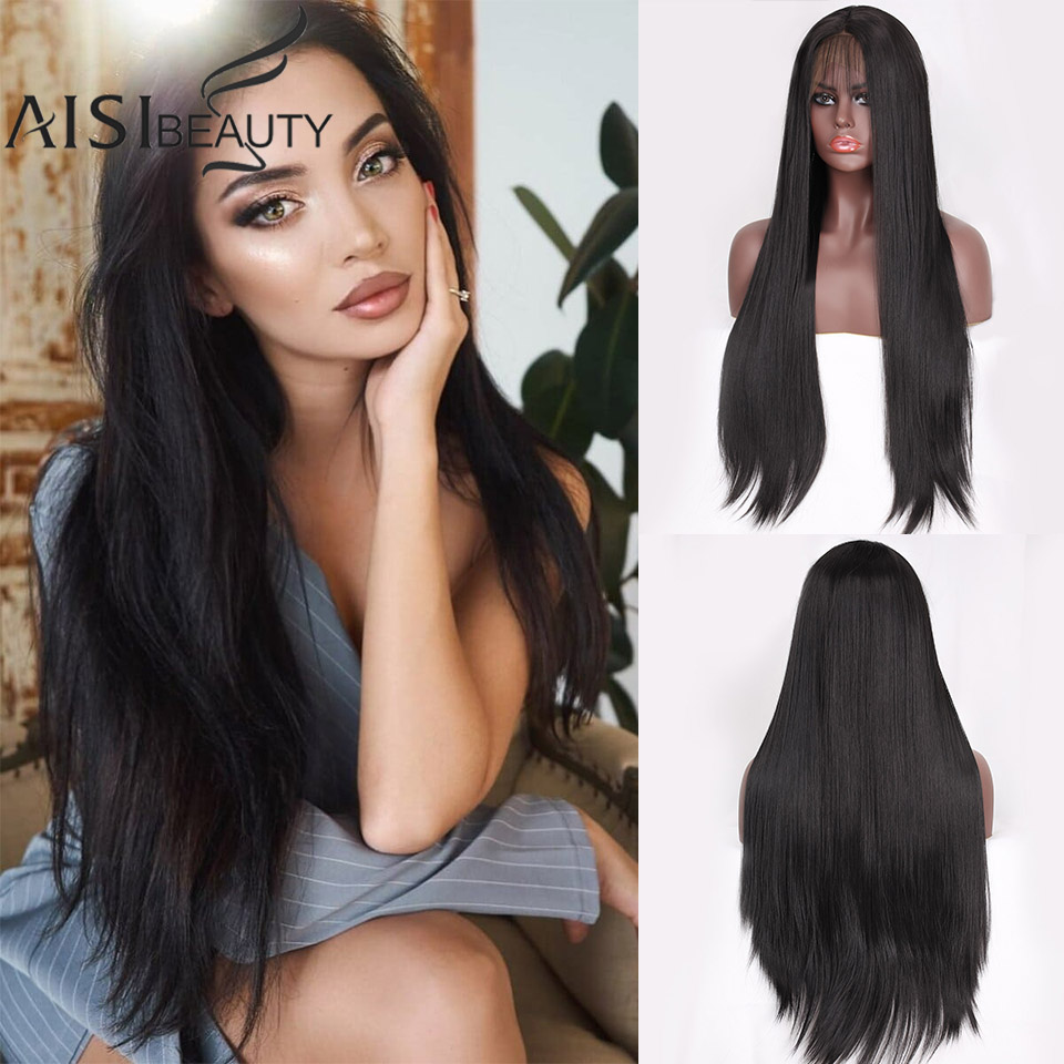 AISI BEAUTY Lace Front Wigs For Women Synthetic Wigs Long Straight Middle Division Wigs Pink/Grey/White High Temperature Natural