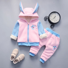 2019 new winter clothes girls baby 80-110cm childrens suit  thick sets 1015