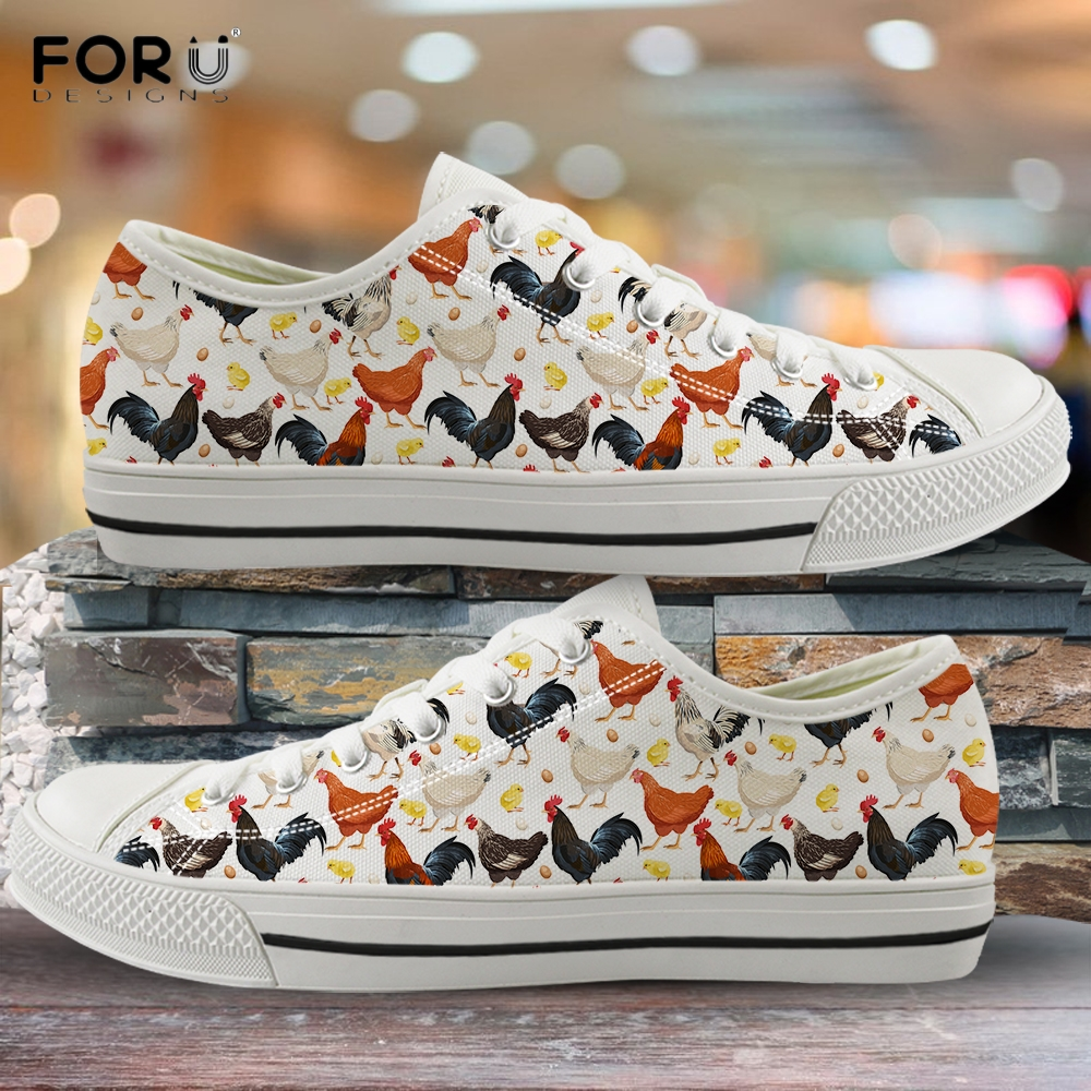 FORUDESIGNS Cute Rooster Hen/Chickens Custom Print Woman Vulcanized Sneakers Spring/Autumn 2020 Casual Shoes Low Top Canvas Shoe