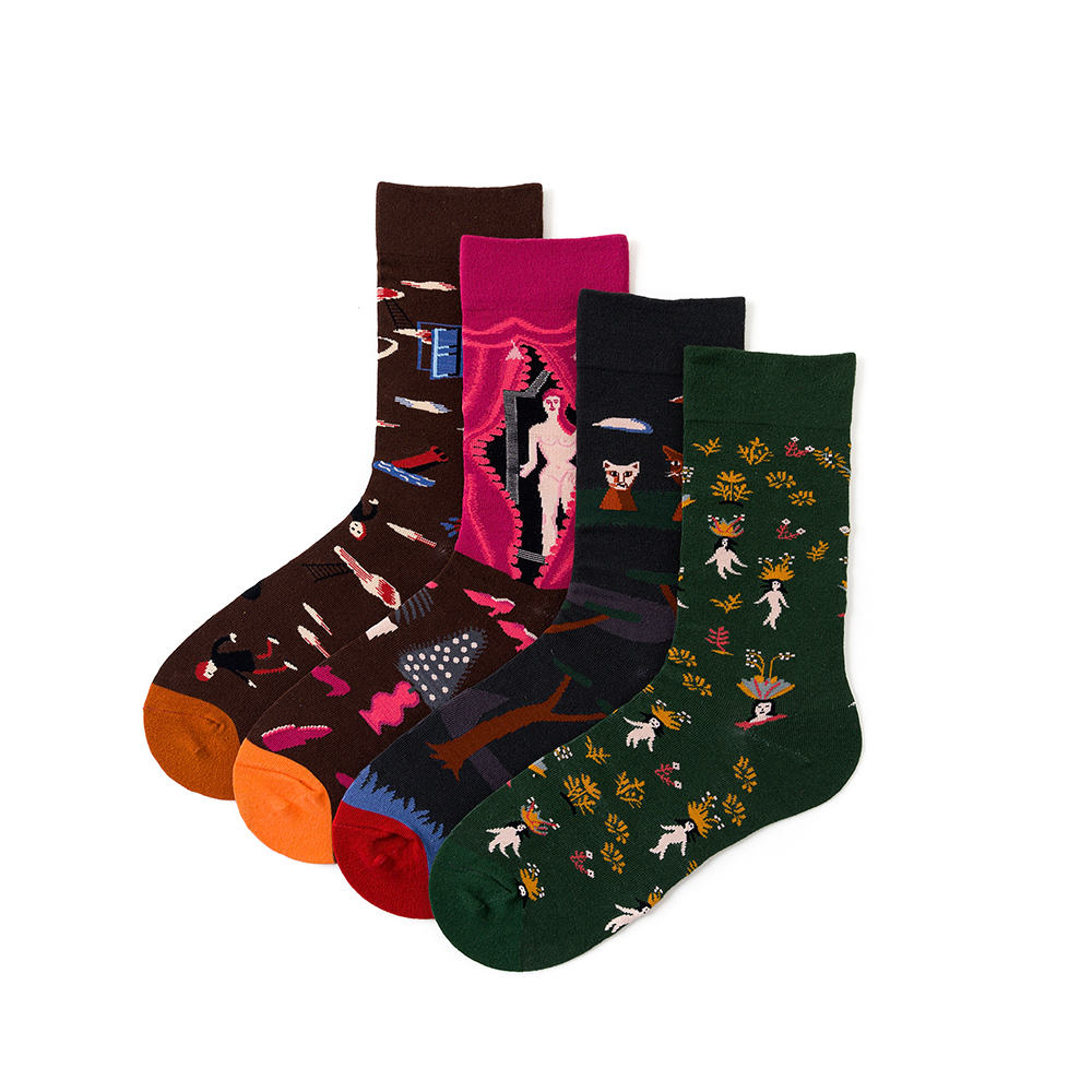 1 Pair Women Socks Cotton Oil Painting Funny Female Men Socks Colorful Lover Socks 36-43EUR