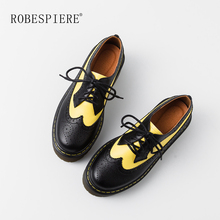 ROBESPIERE New Women Casual Flat Platform Shoes Genuine Leather Mixed Colors Brogue Shoes Lace Up Large Size Zapatos Mujer A46