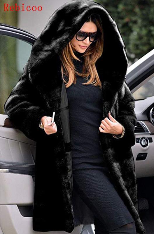 Plus Size S 5XL Woman Fashion Teddy Coat Winter Thicken Warm Fluffy Jackets Lady Faux Fur Outwear Long Hoody Hairy Warm Coats