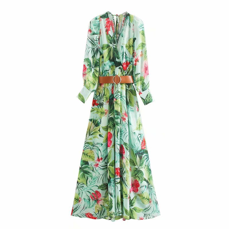 2020 New Spring Summer European Green Grand Prix Waistband Floral Print Zaraing Women Dress Sheining Vadiming Female XDN9510