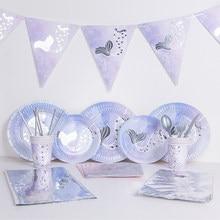 Mermaid Party Decor Hot Silver Mermaid Tableware Under The Sea Party Little Mermaid Birthday Party Decor Girl Favor MermaidDecor