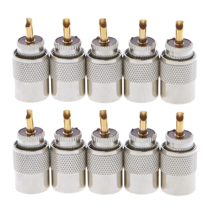 10 pçs uhf PL-259 macho de solda rf conector plugues para rg8x coaxial cabo transporte da gota